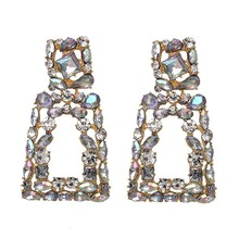 2019 Vintage Metal Statement Big Earrings Geometric Hollow Rhinestone Earring Trendy Long Shiny Crystal