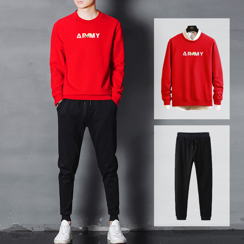 MEN'S Wear Leisure Suit Fashion-Two-Piece Set Long-sleeved Sweater Athletic Pants New Style