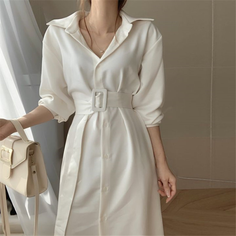 HziriP Loose Casual Comfortable Sashes Belt Chic 2020 Office Lady Retro Vintage Women Elegant Chic Solid A-Line Long Dresses(China)