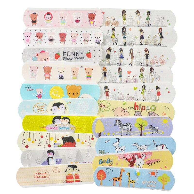100 pçs dos desenhos animados ataduras adesivas ataduras à prova dwaterproof água respirável ferida gesso primeiros socorros hemostasis band aid adesivos para crianças