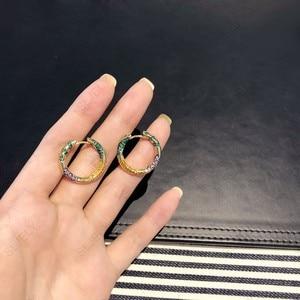 Image 3 - Sljelyリアル 925 スターリングシルバーイエローゴールド色多色ジルコニアceometricパターン部族フープイヤリング女性マナジュエリー