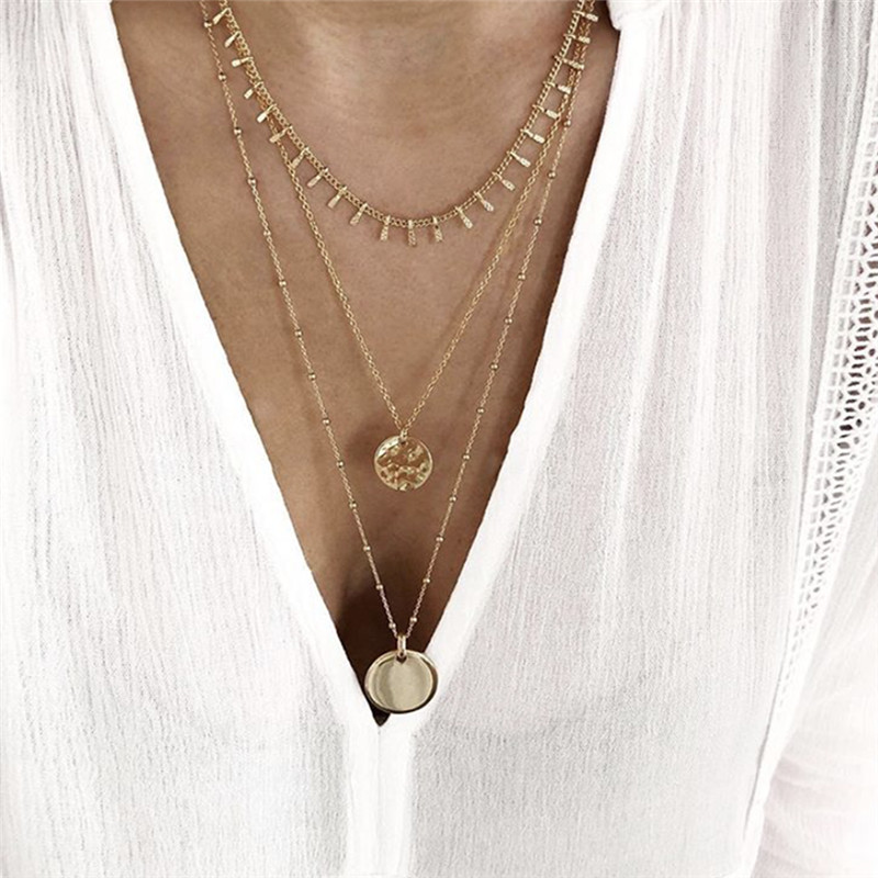 Tocona Charms Gold Color Chain Chockers Necklace Fashion Round Geometry Pendant Jewelry for Women Accessories Wholesale 8279