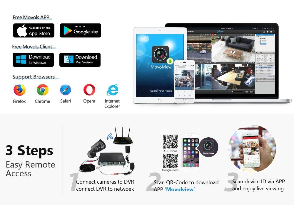 pces 1080p kit câmera de vigilância segurança