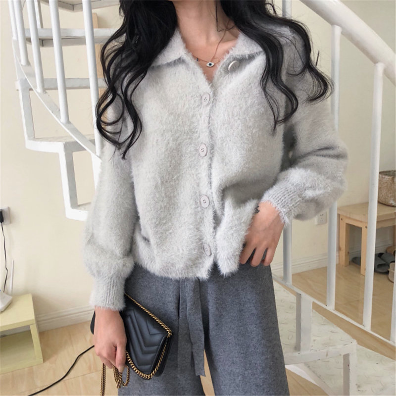 HziriP 2019 Mink Cashmere Cardigans Solid Soft Warm Full-Sleeved Simple All Match Brief Korea Chic Vintage Sweaters Coat 5 Types