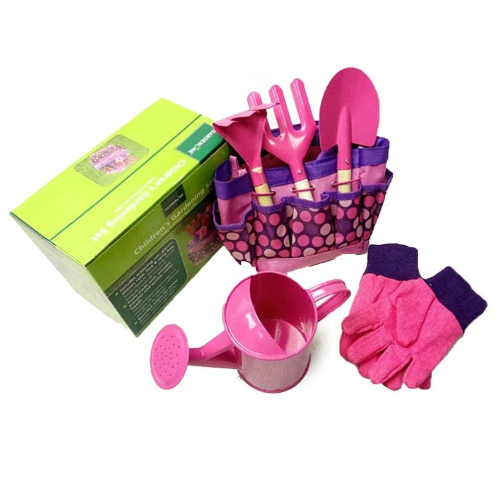 6 teile/satz kinder Mini Garten Werkzeug Set Rosa Farbe Im Freien Metall Schaufel Rechen Spaten Handschuhe Wasserkocher Gießkanne Set lagerung Tasche