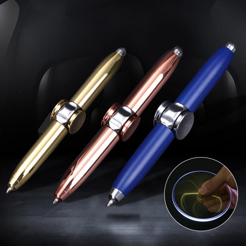 Multi-Function Flash Fingertip Gyro Pen With LED Light Ballpoint Pen Funny Rotating Spinning Writing Pen Relieve Stress Gyro Pen