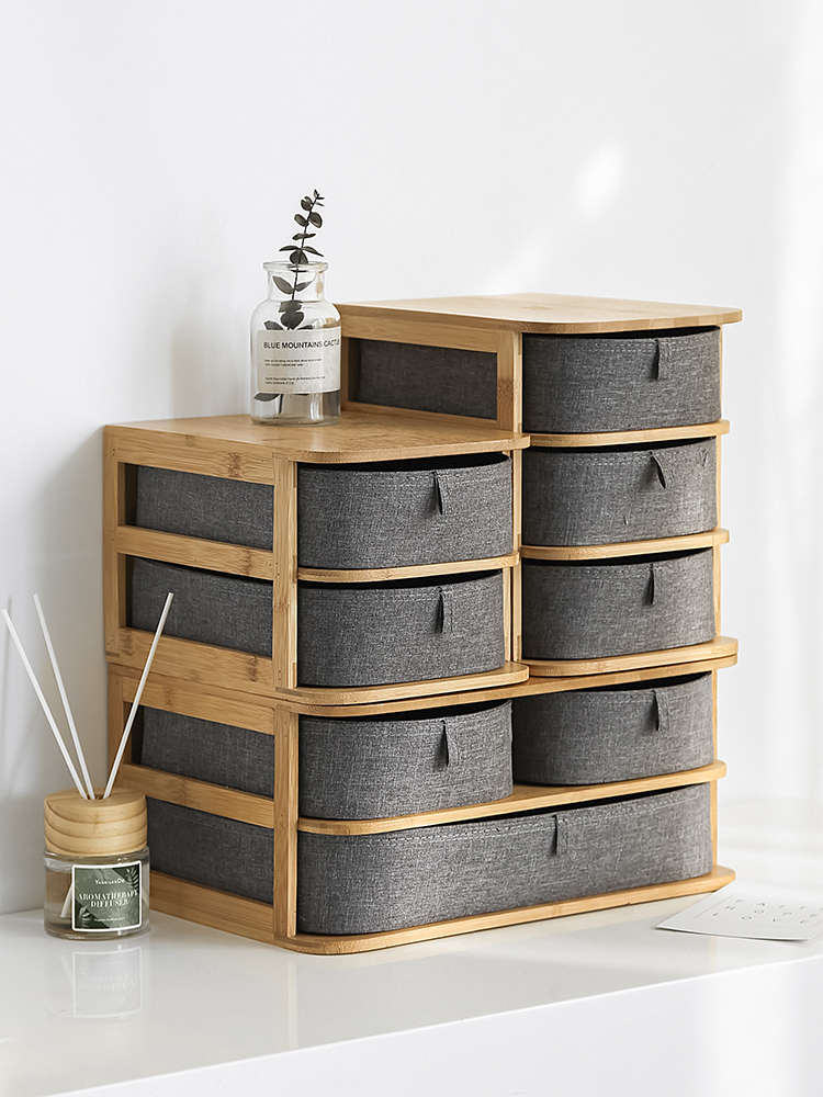 Simple Desktop Storage BoxDrawer Type Double Layer Cosmetic Finishing Box Bamboo Storage Box Cosmetic Organizer Storage Box