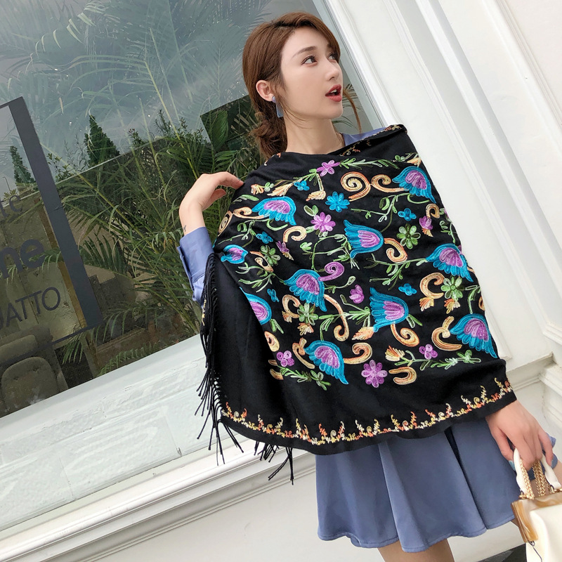 Long Shawl Travel Shawl New Scarves Oversize Women Embroider Flower шумоглушитель Scarf Winter Thick Warm Fine Tassels Scarf