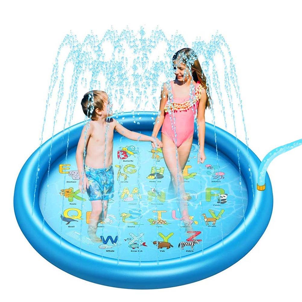 Kids Summer Alphabet Dolphin Inflatable Sprinkle Water Play Pad Splash Mat Toy Outdoor Indoor Garden Mat Pads