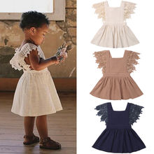 Wholesale Girl Summer Cotton linen Dress Summer Petal Sleeve Solid Casual Knee Length Dress Party Baby Infant Dresses 0-3Y