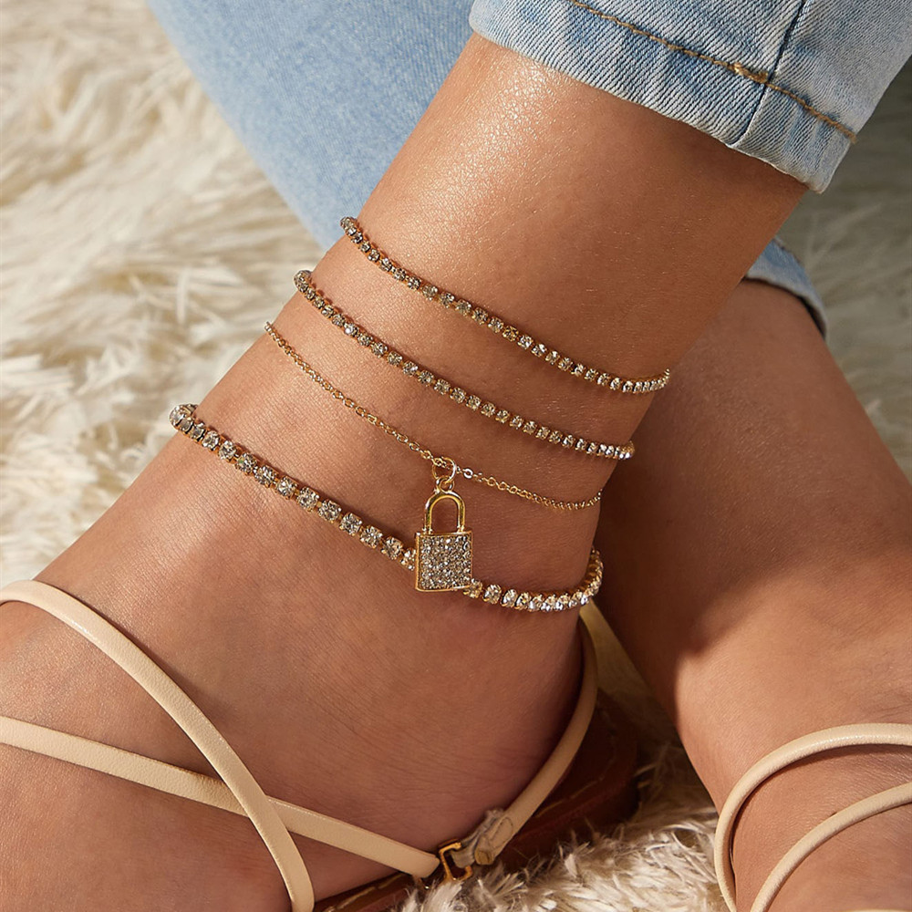 4Pcs/Set Shiny Rhinestone Lock Pendant Anklet Bracelet Set Bling Crystal Chain Barefoot Sandals Foot Beach Jewelry for Women