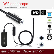 iphone endoscope waterproof usb  android wireless endoscope wifi borescope wifi inspection camera wireless handheld semi-rigid цена 2017