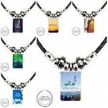 Ej esmalte para as mulheres de couro preto grânulo pingente de vidro feito à mão longa colar jóias boa condição ikhlas muçulmano surah