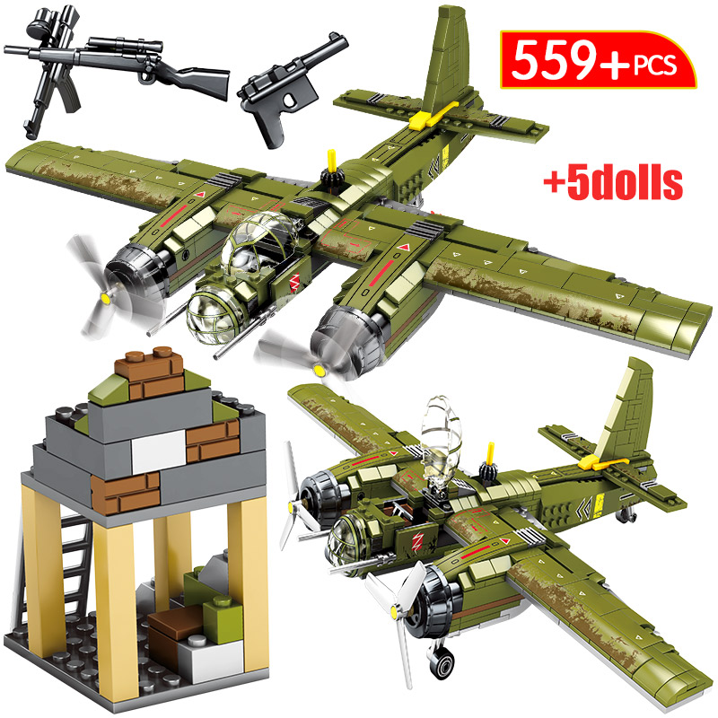 Military Fighter Airplane Model Building Blocks For Legoings City WW2 Mortar Police DIY Helicopter Bricks Toys For Children