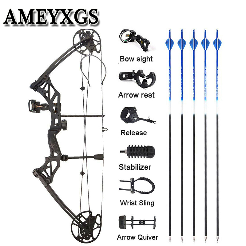 1 Set Archery 30-70 lbs Compound Bow IBO 320 fps Fishing Shooting Ourdoor Hunting Bow 16-31inch Draw Length Sports Bow And Arrow