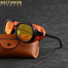 KEITHION Steam Punk PU leather Shields Sunglasses Women Goggles  Retro punk Round Sunglasse Men UV400