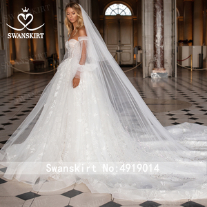 Image 3 - SWANSKIRT Sweetheart Illusion suknia ślubna 2020 2 w 1 rękaw line księżniczka dostosowane suknia ślubna Vestido de novia I327