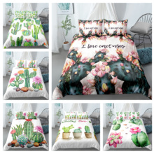 Fashion Plant Printed Cactus Succulents Bedding Sets Home Decoration Quilt Duvet Cover Pillowcase Drop Shipping