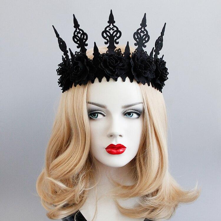 Princess Noble Temperament Retro Style Vintage Gothic Black Crown Roses Tiara Headband Halloween Party Masquerade Cosplay