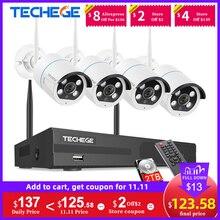 Techege sistema de cctv sem fio 1080p gravação áudio 2mp 8ch nvr à prova dnvr água ao ar livre wifi cctv sistema de câmera de vigilância por vídeo kit