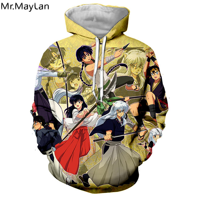 Femmes Hommes 3D impression Hoodies pullovear Sweatshirts Anime Inuyasha streetwear