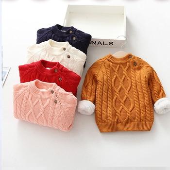 KISBINI, suéter grueso y cálido de invierno para bebés, niños y niñas, suéter de punto con forro polar para niños, suéter marrón, ropa