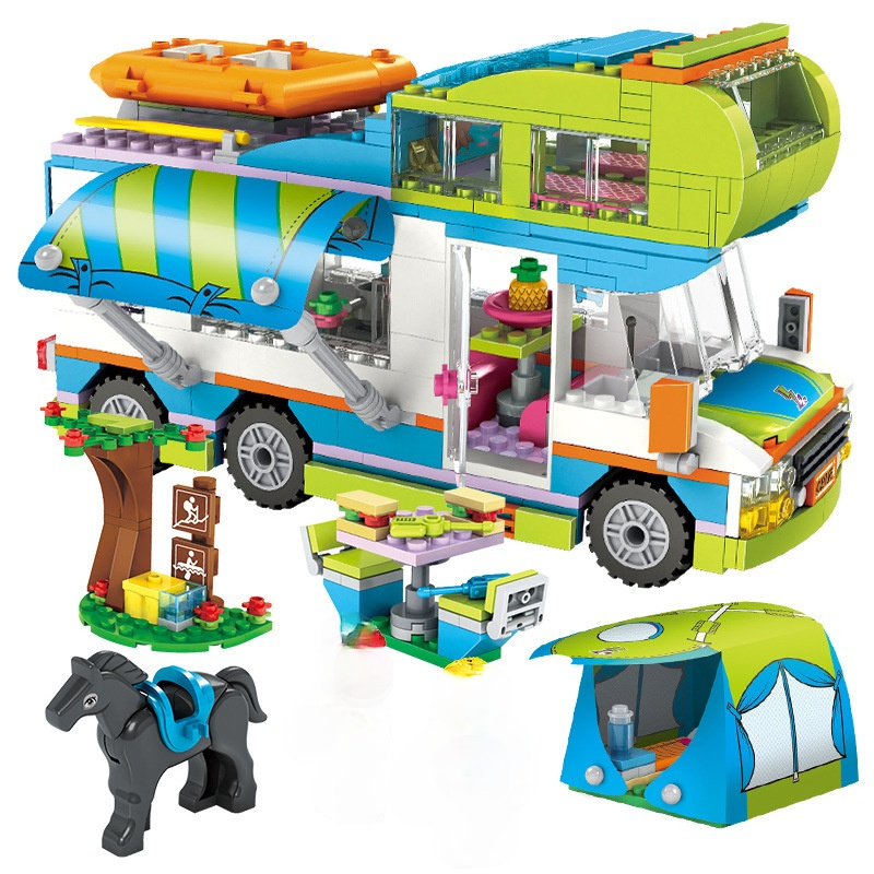 Friends Series City Outing Camper Bus Car Building Blocks City Club Street Cafe Restaurant Outdoor Play Brick Girls Figures Toys