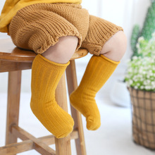 1-3Y Winter Autumn Kids Children Solid Color Socks Candy Baby Toddler Cotton Loose High long socks