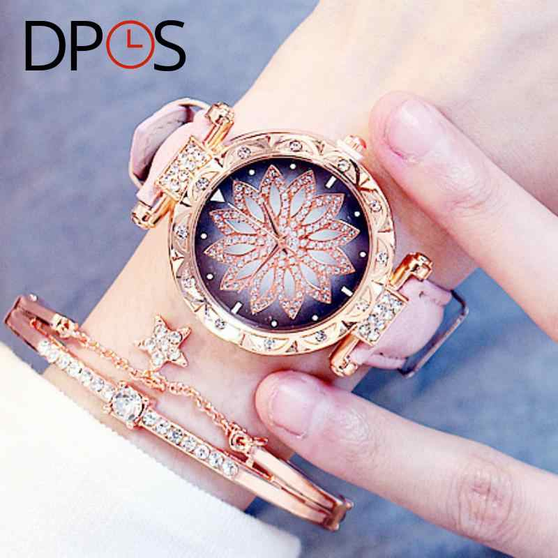 Luxury Flower Diamond Dial Women Quartz Watches Rose Gold Fashion  Wristwatch For Female lelgant ladies dress Gift DPOS Clock