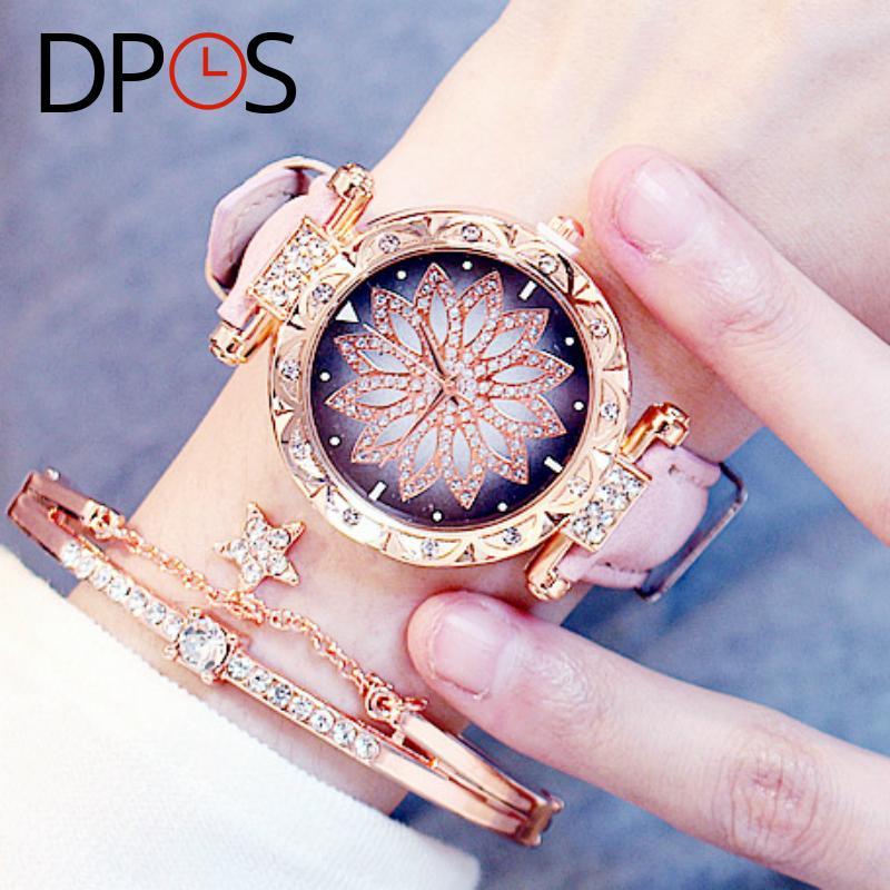 Luxury Flower Diamond Dial Women Quartz Watches Rose Gold Fashion Wristwatch For Female lelgant ladies dress Gift DPOS Clock