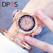 Luxus Blume Diamant Zifferblatt Frauen Quarz Uhren Rose Gold Mode Armbanduhr Für Weibliche lelgant damen kleid Geschenk DPOS Uhr