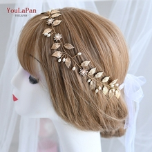 TOPQUEEN HP110 Bridal Headband Handmade Wedding Headpieces Flower Hair Jewelry Golden Leaf and Diamond Beaded Hair Accessories