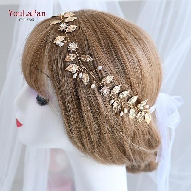 TOPQUEEN HP110 כלה בגימור בעבודת יד חתונת Headpieces פרח שיער תכשיטי זהב עלה ויהלומים חרוזים שיער אבזרים