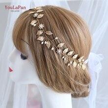 Повязка на голову TOPQUEEN HP110 для новобрачных, ручная работа, украшения для волос в виде цветов, золотой лист и алмаз, аксессуары для волос с бисером