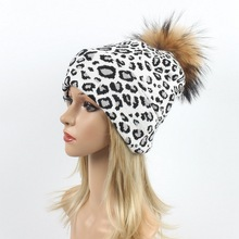 Winter Female Fur Pom Poms hat Hat For Women Girl s Knitted Leopard Beanies Cap Thick Skullies
