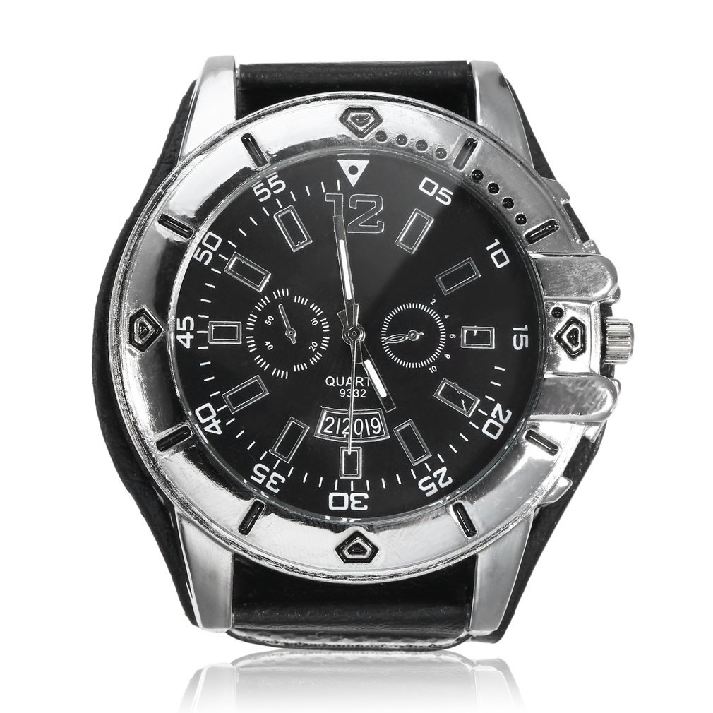 Wide Leather Men <font><b>Watch</b></font> Quartz Men <font><b>Watch</b></font> Ladies Sport Analog Wrist <font><b>Watch</b></font> Large Dial image