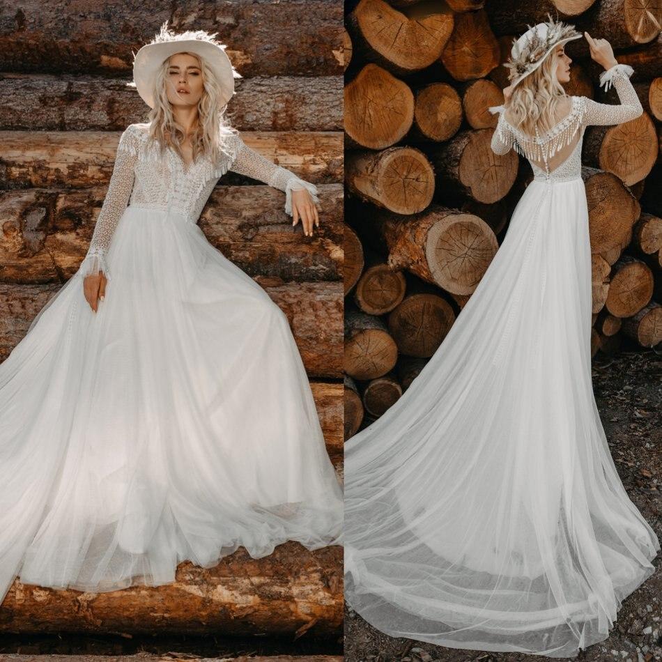 2020 Bohemian Wedding Dresses Jewel Long Sleeves Lace Appliques Bridal Gowns Sweep Train A Line Wedding Dress Robe De Mariee
