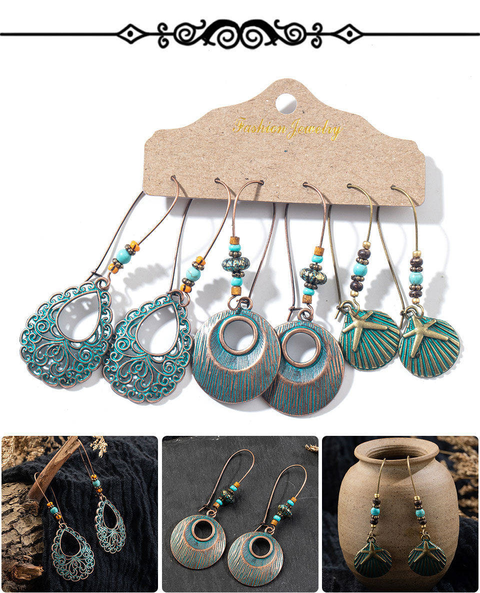 H2a09e8d6d584499d92b3786aae7f4347D - Multiple Women's  Boho Ethnic Drop Earrings
