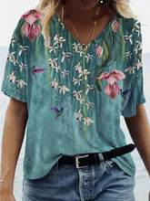 T shirt Fashion 2021 Large Size Tops Women Casual V Neck Shirt Tees Ladies Loose Floral Print Tunic Shirt
