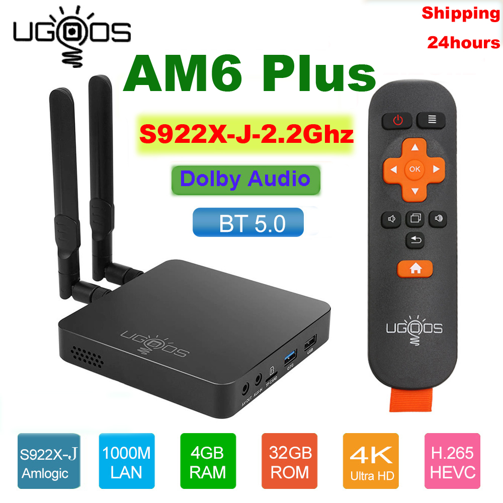 UGOOS AM6 Plus Amlogic S922X-J 2.2GHZ TV BOX Android 9.0 4GB DDR4 32GB Smart TV BOX AM6 Pro S922X WiFi 1000M Set Top Box 2G 16G
