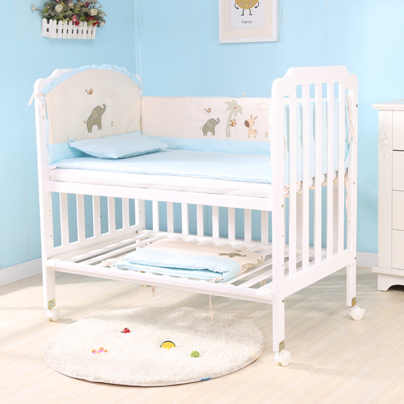 Big Baby Solid Wood Crib Bunk Adjustable Long Variable Desk Cradle Multi-functional With Mosquito Net Mattress Free Gift