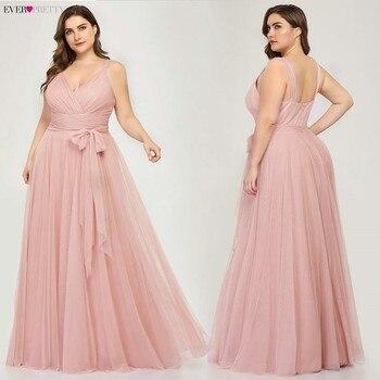 Grande taille robes de demoiselle d'honneur Ever Pretty EP07303 Blush rose a-ligne col en v Tulle élégant Lavande longue robe pour la fête de mariage