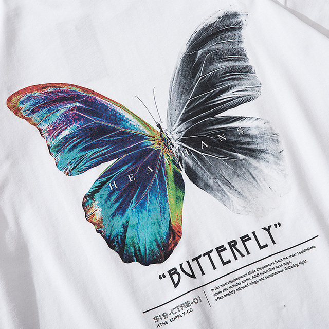 Hip Hop Oversize T Shirt Men 2020 Streetwear Harajuku Color Butterfly Tshirt Short Sleeve Cotton Loose HipHop T-Shirt Plus Size 6