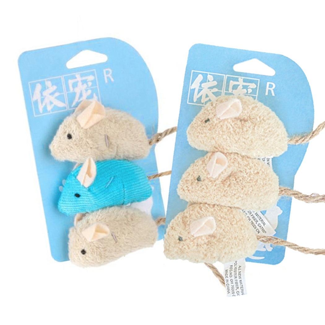 Ratón de juguete de felpa para gatos, resistente a los arañazos, interactivo, 3 uds.