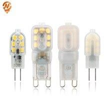 Mini g4 g9 conduziu a luz 3 w 5 ac 220 v dc 12 v lâmpada smd2835 spotlight para lustre de cristal substituir lâmpada halógena 360 graus iluminação