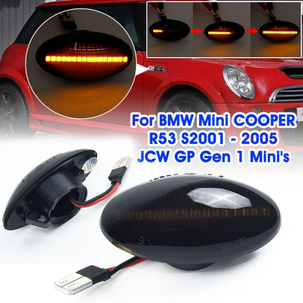 2pcs 12V Car 3528SMD LED Left Right Side Marker Turn Signal Light Yellow For BMW Mini Cooper R53 S 2001-2005