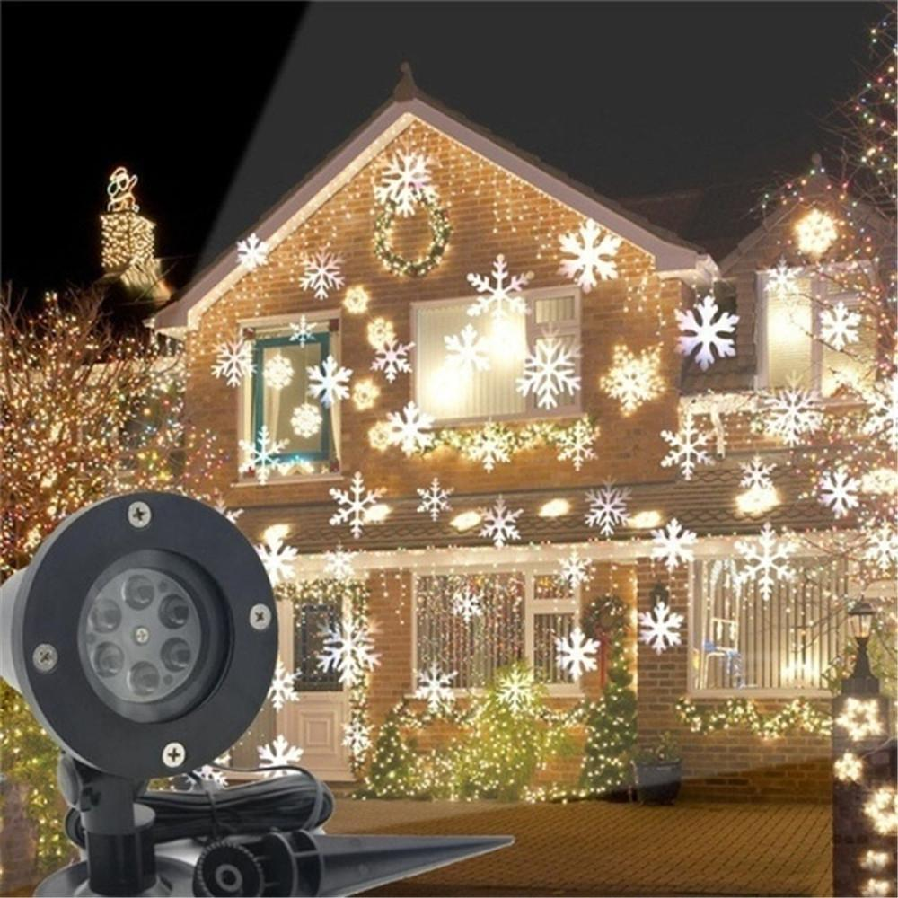 Christmas Snowflake Laser Light Snowfall Projector 6 LED Moving Snow Outdoor Lawn Laser Projector Lamp For New Year Party Decor
