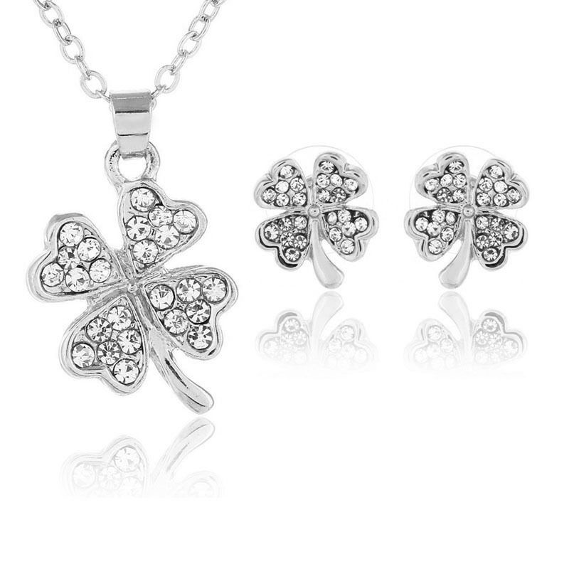 Best selling fashion excellent crystal 925 sterling silver wholesale four-leaf clover silver jewelry set anti-allergic gift s071