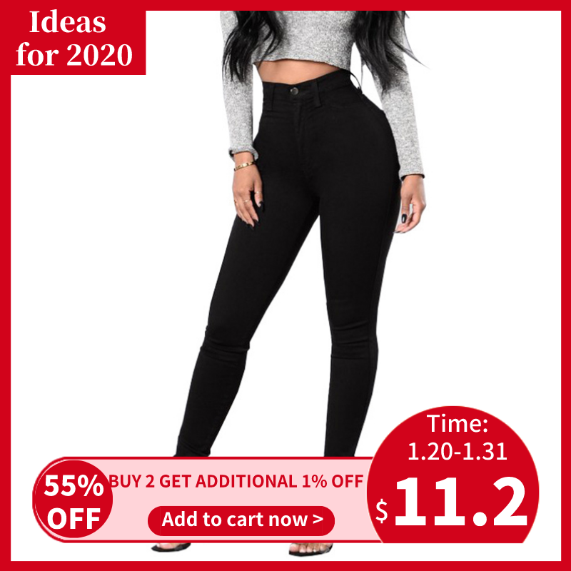 Helisopus High Waist Skinny Jeans Women Casual Elastic Black White Denim Pencil Pants Push Up Trousers Plus Size