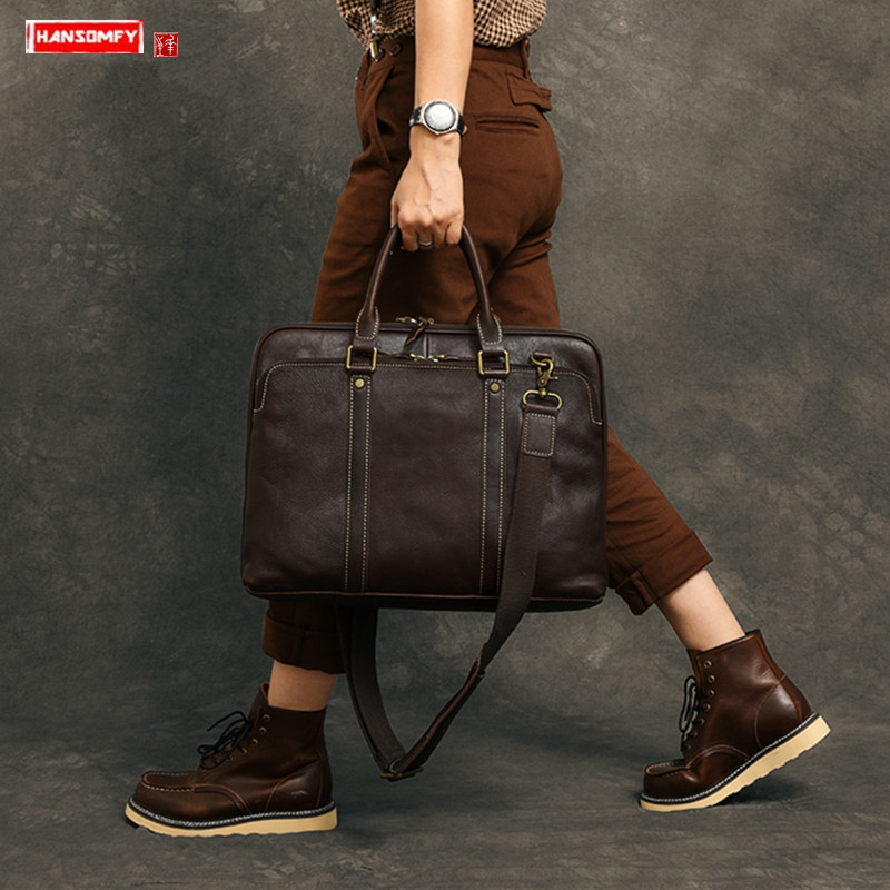 Retro Handmade Men's Handbags 15.6-inch Laptop Bag Horizontal Leather Computer Bag Business High-grade Briefcase Shoulder Bags